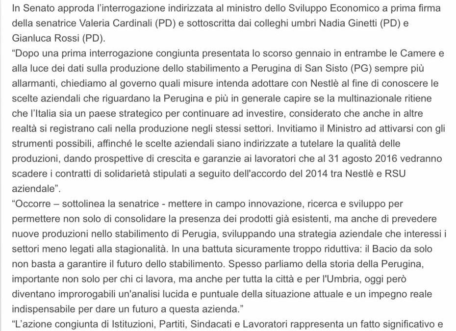 Futuro Perugina dopo accordo con Nestlè