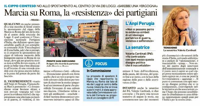 "Polemica Cippo commemorativo, Cardinali (Pd): ""Perugia deve reagire, no a rievocazione fascismo"""