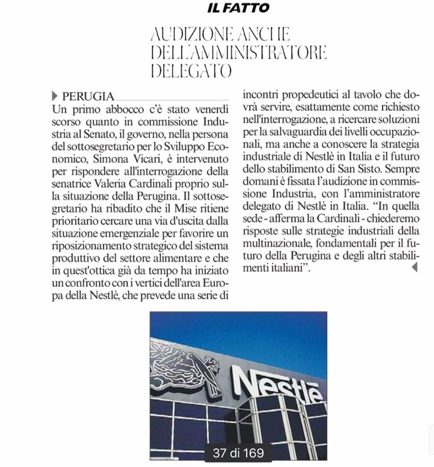 Audizione dell'A.D. di Nestlè Italia in Senato